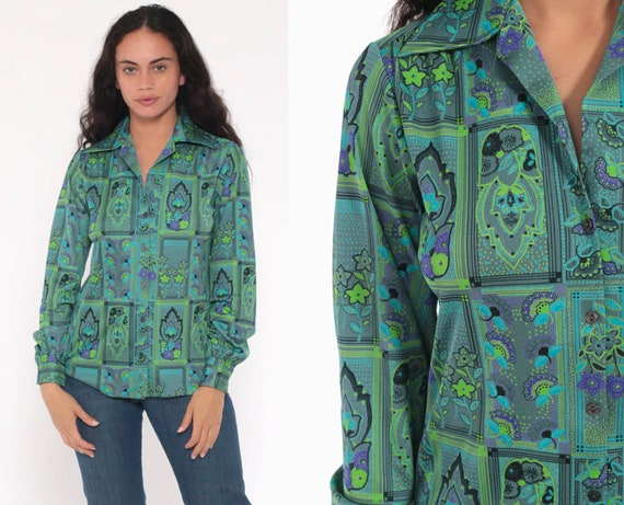 70s Boho Shirt Psychedelic Floral Blouse Green Purple Floral Top Hippie 1970s Vintage Bohemian Button Up Long Sleeve Small Medium