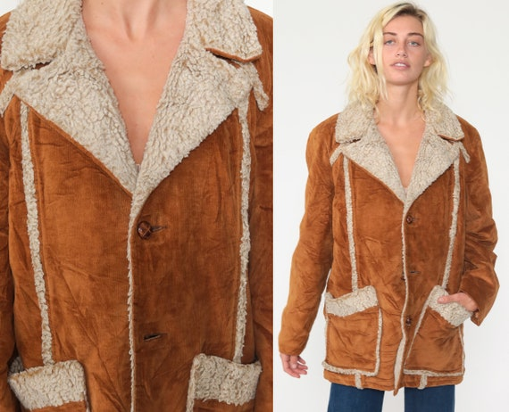 Corduroy Sherpa Jacket Men's Large 70s Shearling Jacket Collared Button Up Boho Light Brown Coat Hippie Jacket 1970s Seventies Large L