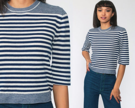 Striped KNIT Sweater 70s Blue Nautical Sailor Sweater 3/4  Sleeve Sweater Boho Hippie White Jumper 1970s Pullover Vintage Small s