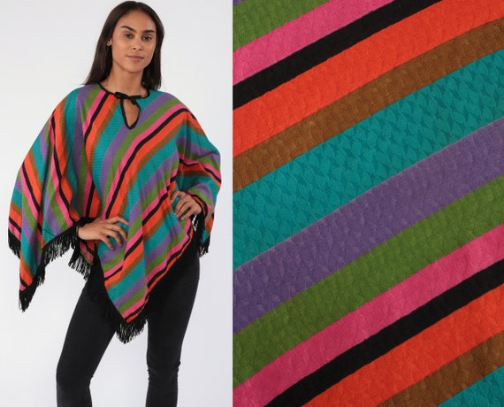 70s FRINGE Shawl Hippie Poncho Boho Striped Cape 1970s Bohemian Vintage Festival Neon Orange Blue Pink  Small Medium Large