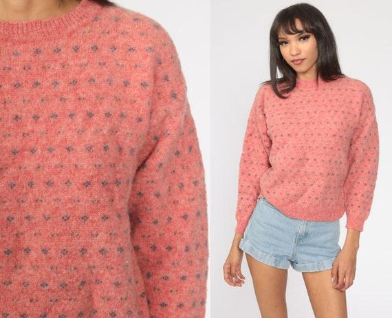 Eddie Bauer Sweater 80s Knit WOOL Sweater Pink Sweater 1980s Slouchy Vintage Medium