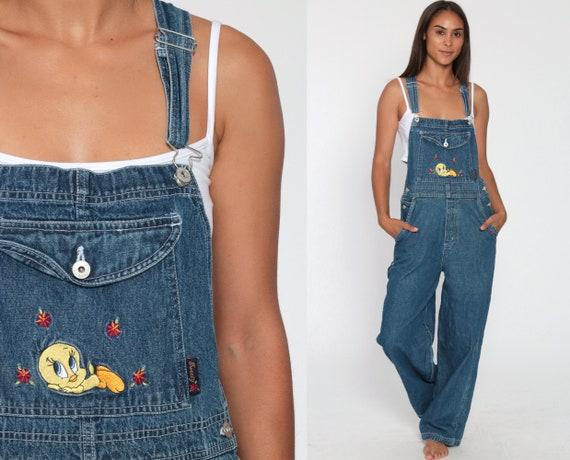 Looney Tunes Overall Jeans Tweety Bird Kawaii 90s Grunge Jean Suspender Warner Bros Bib 1990s Vintage Women Small