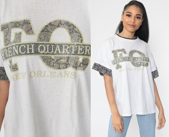 New Orleans Shirt French Quarter 90s Tee Retro 1990s Vintage T Shirt Graphic Short Sleeve Grey Medium Large