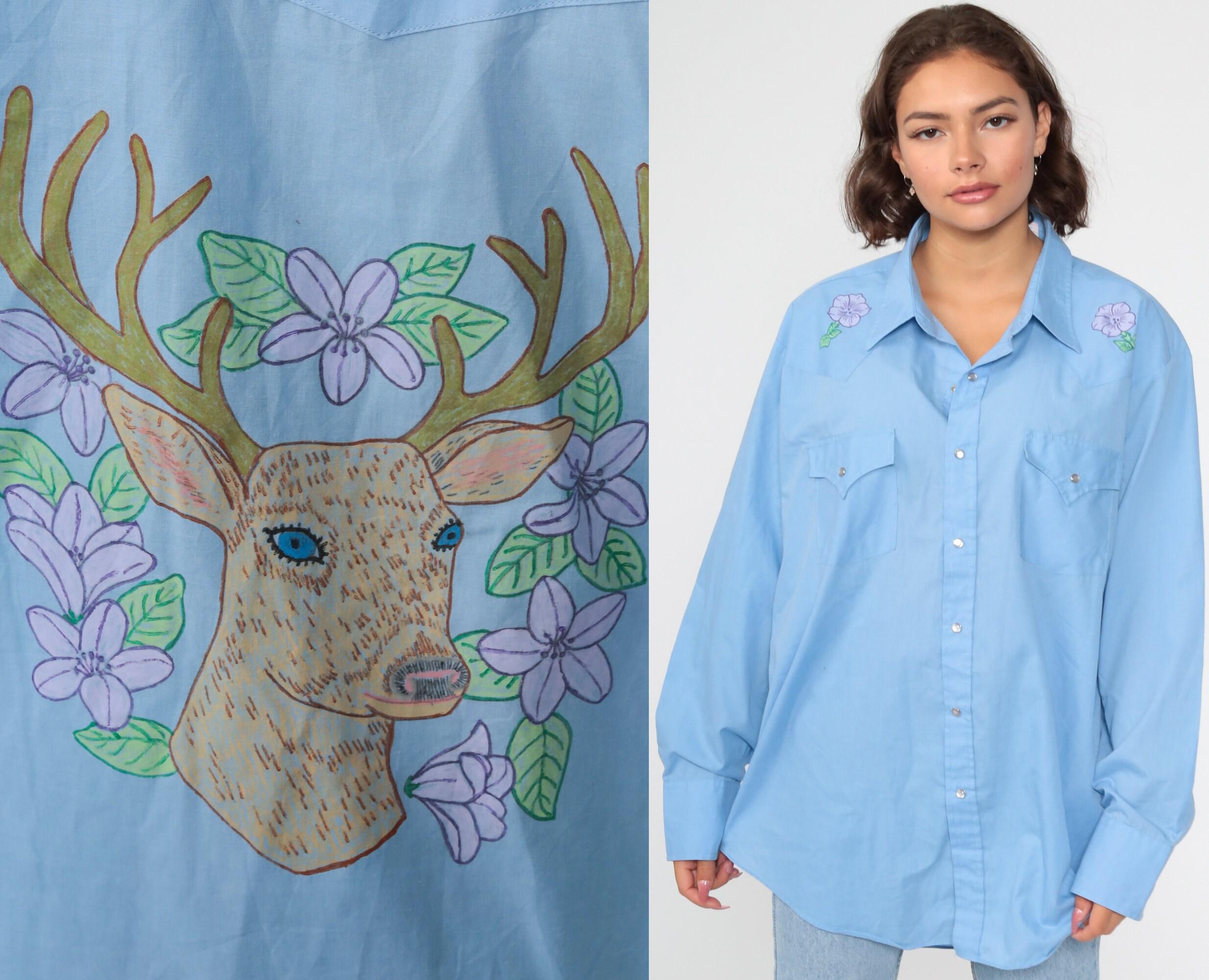 1970s Men's Shirt Styles – Vintage 70s Shirts for Guys Western Deer Shirt 70S Floral Blue Hand Drawn Pearl Snap 1970S Vintage Button Up Boho Long Sleeve Cotton Rockabilly Medium Large $59.00 AT vintagedancer.com