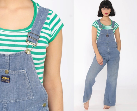 Bell Bottoms Overalls OSHKOSH Overalls Hippie Jeans 70s Denim Overalls Osh Kosh Bib Flared 1970s Vintage Boho Retro Pants Blue Small