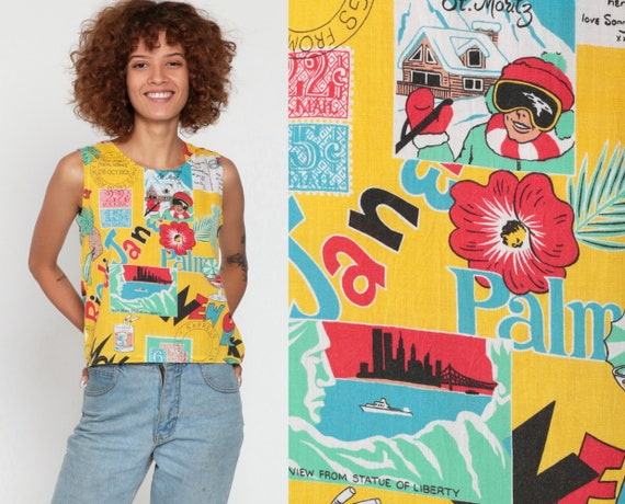 Travel Tank Top Rio, Paris, New York Postcard Shirt Tropical Shirt Graphic Tank Top Pineapple 80s Vintage Retro Tee 1980s Extra Small xs