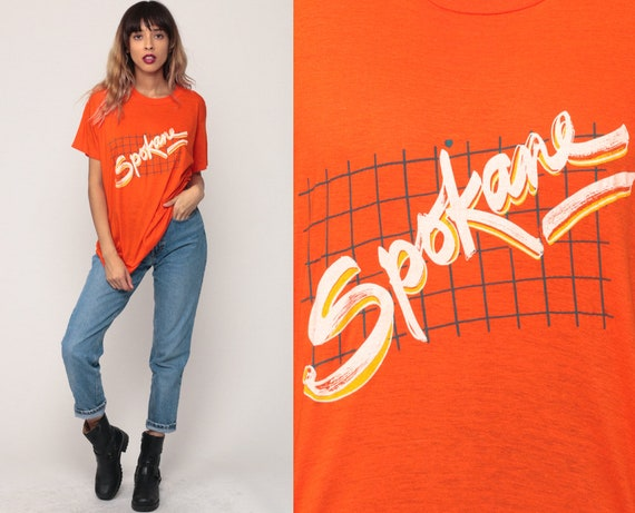 Spokane Shirt Washington State Shirt Retro TShirt 80s Burnout Tee Vintage T Shirt 90s Graphic Travel Tee Paper Thin Orange Extra Large xl