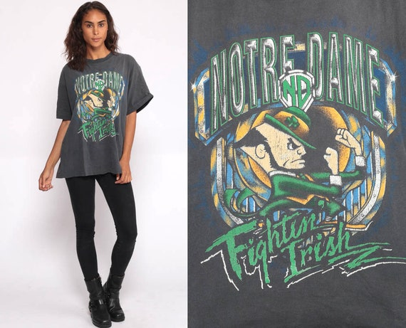 Notre Dame T Shirt FIGHTING IRISH Football Shirt University Tee 80s College Graphic TShirt 90s Black Medium Large