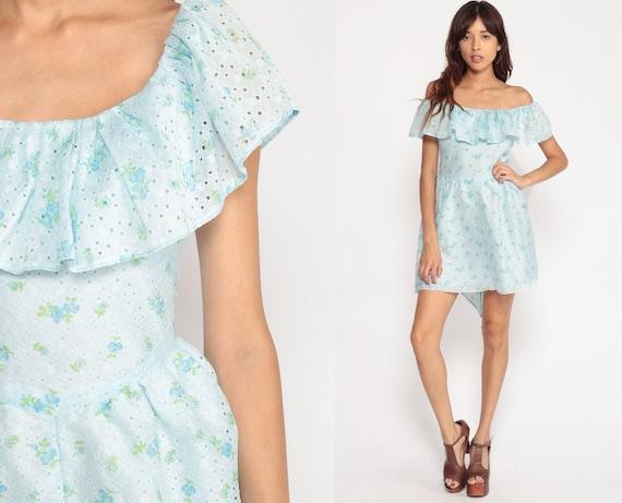 Off Shoulder Dress Eyelet Lace Dress Blue Floral Dress 70s Mini Boho Peasant Dress Vintage 1970s Bohemian Summer Dress Small