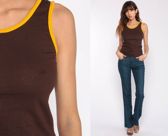 RINGER Tee Shirt 80s Tank Top Retro Shirt Brown Plain Paper Thin Top 70s Hipster Vintage Yellow Extra Small xs