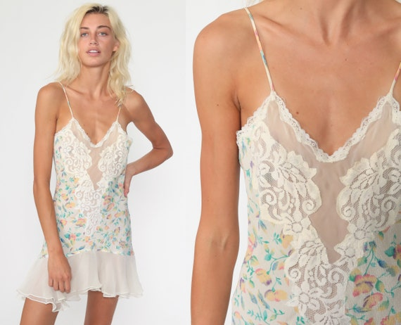Victoria's Secret Nightgown Floral Lace Nightgown Slip Dress Mini Lingerie Vintage 90s Nightgown Spaghetti Strap 1990s Extra Small xs