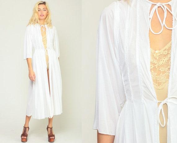 White Robe Lingerie Jacket 70s White Robe Midi Lingerie Bohemian Robe PLEATED Boho Semi-Sheer Bridal 1970s Vintage Small