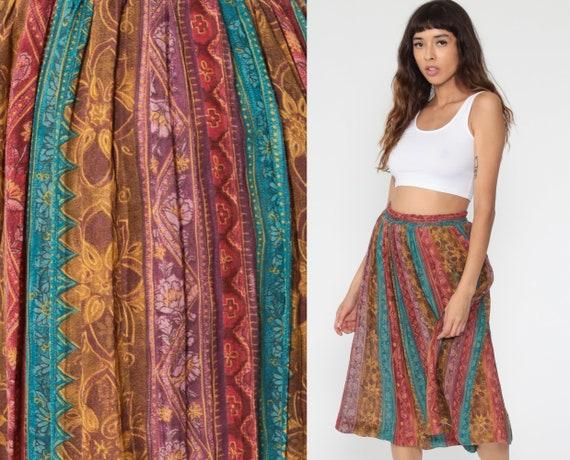 Floral Midi Skirt 90s Striped Skirt Boho Print HIGH WAISTED 80s Muted Red Blue Vintage Hippie Festival Summer Skirt Small Medium