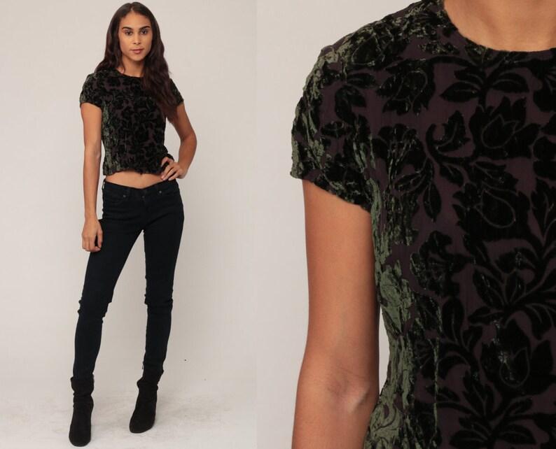 477c4102bc1 Velvet Shirt Green Floral Top 90s GRUNGE Top Silk Blouse Short