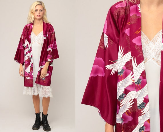 Asian Kimono Robe Jacket 90s Floral CRANE BIRD Robe Burgundy Japanese Bohemian Wrap Dressing Gown Vintage Boho Hippie Extra Large xl