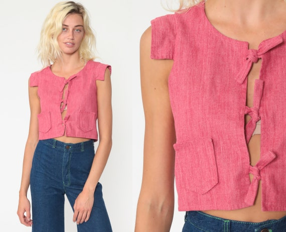 Pink Cropped Shirt 70s Blouse Plain Crop Top Bohemian Tie Waist Open Front Cap Sleeve Top Boho Print 1970s Extra Small xs
