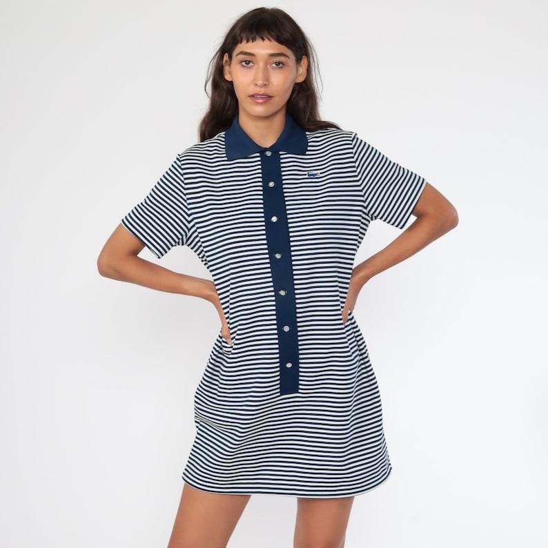 60s Lacoste Dress Striped Mod Mini Dress 60s Shift Crocodile Space Age 1960s Twiggy Blue 70s Vintage Chemise Minidress Large
