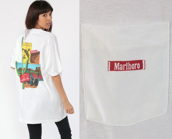 Marlboro Shirt Cigarette Shirt Saguaro CACTUS Print TShirt 90s Wild West T Shirt State Fair Rodeo Country Vintage Pocket Southwest Large xl