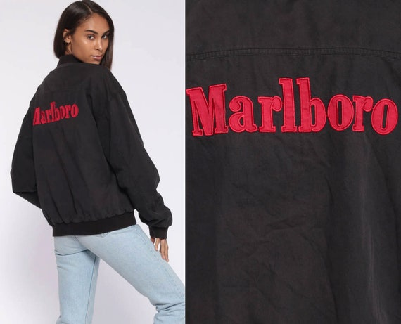 MARLBORO Jacket REVERSIBLE Bomber Jacket 90s Baseball Cigarette 80s Windbreaker Red Black 1980s Retro Sport Coat Vintage Extra Large xl l