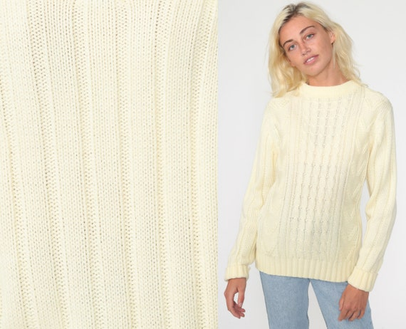 Cable Knit Sweater 80s Slouchy Cream Fisherman Sweater Knit Hipster Boho Pullover Cableknit 1980s Jumper Vintage Small Medium