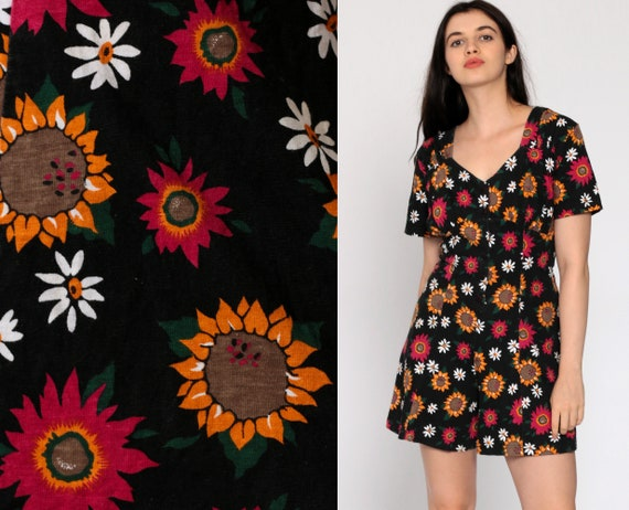 Sunflower Romper Dress 90s Floral Romper Black 1990s Grunge Playsuit Mini Dress Short Sleeve Button Up One Piece Woman Onesie Small Medium