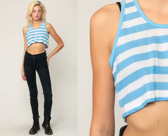 70s Tank Top Striped Crop Top Boho Shirt Sleeveless Bohemian 80s Top Retro Shirt Vintage Summer White Blue Shirt Small Medium