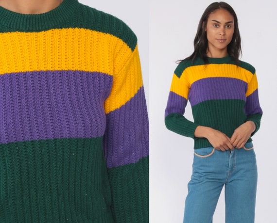 Cropped Striped Sweater 80s Knit Purple Green Yellow Sweater Slouch Short 1980s Jumper Vintage Pullover Retro Extra Small xs