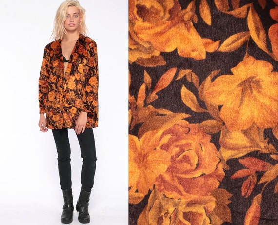 Floral VELVET Blazer Jacket -- 90s Orange Velvet Jacket Vintage Grunge Hipster Vintage Autumn Fall Retro Small Medium Large xl