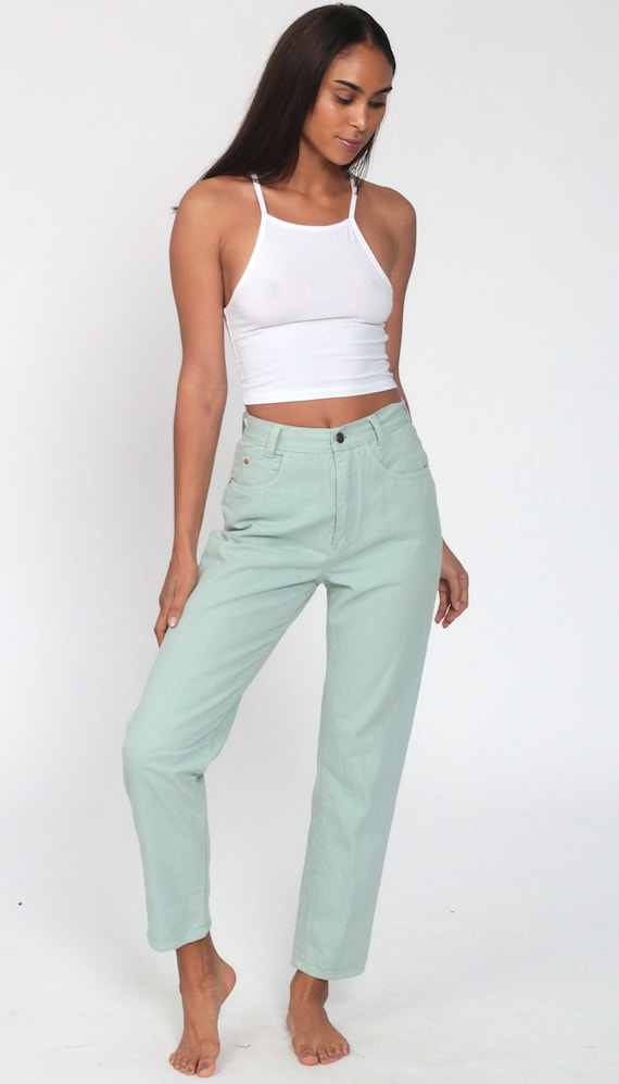 Mint Pastel Jeans XS -- Tapered Leg 90s Jeans Mom… - image 2