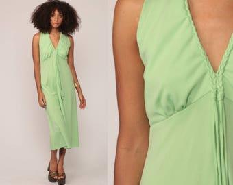 Grecian Dress 1970s Midi Halter Party 70s Mint Green KEYHOLE Plunging Neckline Deep V Neck Boho Empire Waist Vintage Bohemian Large