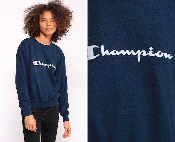 Champion Sweatshirt Crewneck Pullover Sports Jumper 90s Streetwear Shirt Navy Blue Slouch 1990s Vintage Small