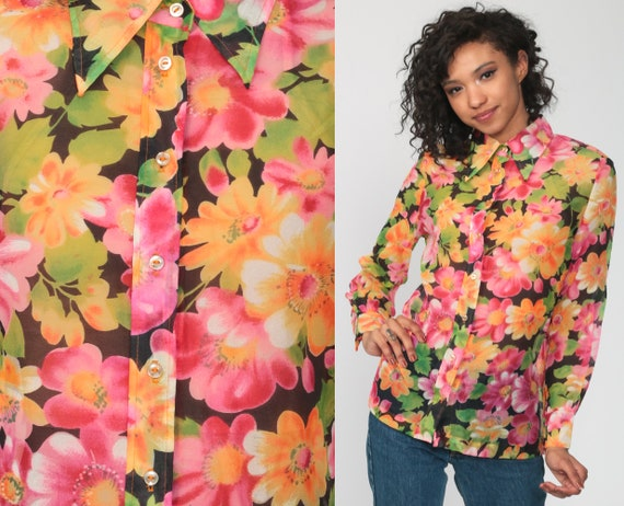 1970s Vintage Hot Pink and Purple Acrylic Floral Shirt  70s  Seventies Hawaiian Neon Button Up Blouse  Size Medium  Large