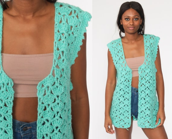 Crochet Vest Turquoise Blue Knit Top 70s Hippie Boho Vest Open Weave Sheer 1970s Vintage Bohemian Sleeveless Sweater Large L