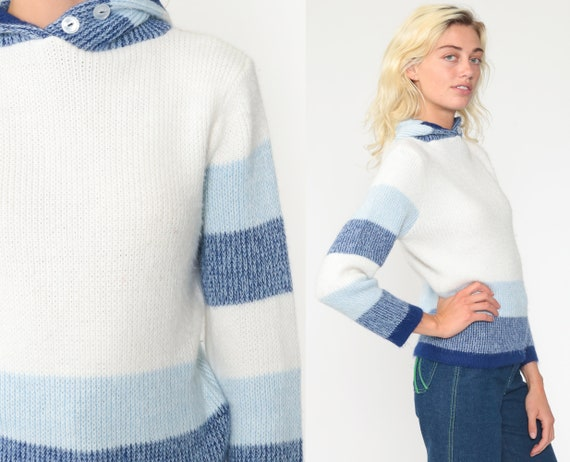 70s Hooded Sweater xs White Blue Striped Knit Hoodie Vintage Hippie Boho 60s Pullover Hood Hippie Jumper Fuzzy Tiny Fit Extra Small xs