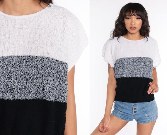 80s Knit Shirt Black White Striped Knit Shirt Sweater Top 80s Nerd Geek Retro Vintage Short Sleeve Boho Shirt Large L