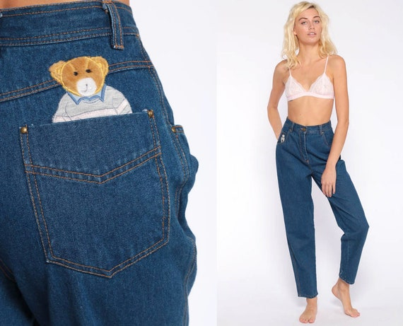 Teddy Bear Mom Jeans 25 Patch Jeans High Waist Jeans 90s Tapered Slim Relaxed Jeans Kawaii Denim Pants 1990s Vintage Extra Small xs 2