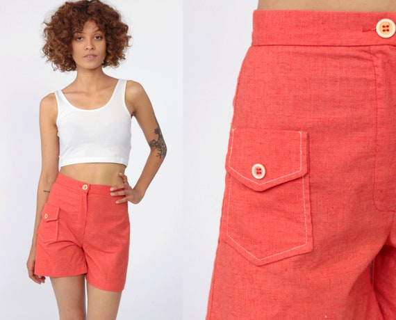 Coral Red Shorts 70s Hotpants High Waist Shorts Cotton High Rise Wide Leg Pinup Vintage Retro 1970s Cargo Shorts Extra Small XS