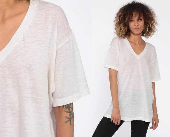 White Burnout Shirt V Neck Tee Shirt Sheer Plain Tshirt Vintage Tee 80s Grunge Sheer T Shirt Normcore Small Medium