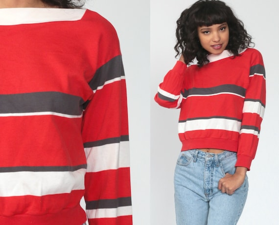 Striped Sweatshirt 80s Sweater Red Print BOATNECK Slouch Pullover Jumper Long Sleeve Shirt Boat Neck Vintage Small