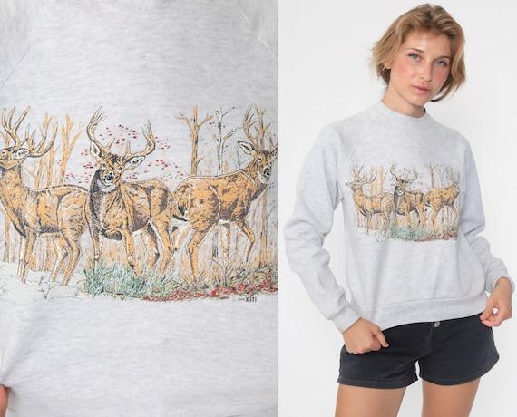 Deer Sweatshirt 1994 Animal Sweatshirt 90s Jumper Pullover Wildlife Shirt Buck 90s Raglan Sleeve Grey Vintage Slouchy Extra Small xs