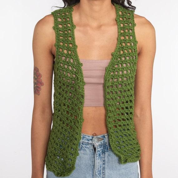 Crochet Vest Olive Green Knit Top 70s Hippie Boho… - image 5