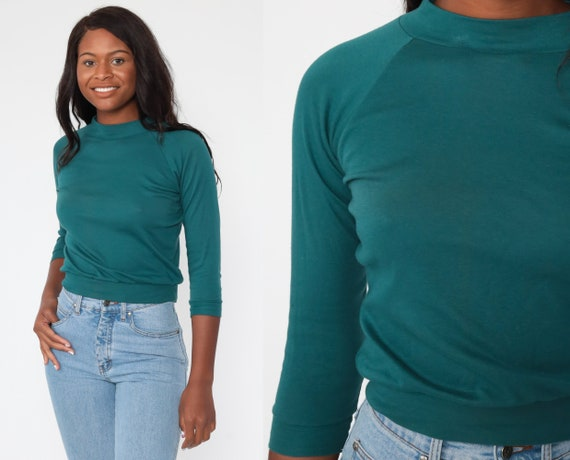 Raglan Sleeve Shirt xs Teal Green 80s Tshirt Long Sleeve Top 1980s Plain Simple Vintage Extra Small xs