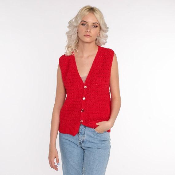 Crochet Vest Red Knit Top 70s Hippie Boho Vest Op… - image 4