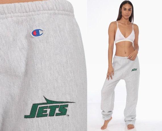 NY Jets Sweatpants CHAMPION Joggers 90s Jogging New York Sweat Pants Grey Baggy Track Pants Suit Sports Vintage Sportswear Medium Large