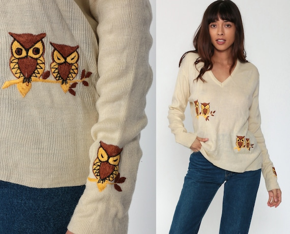 Owl Sweater 70s Sweater Boho Vintage Animal Bird Sweater 1970s Novelty V Neck Embroidered Beige Tan Kawaii Pullover Bohemian Slouch Large