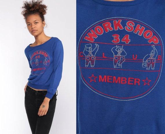 80s Sweatshirt WORKSHOP CLUB Kawaii Sweatshirt Long Sleeve Construction Worker Shirt Slouchy Extra Small xxs xs