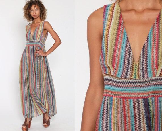 70s Rainbow Dress Boho Maxi Striped DEEP V NECK Empire Waist Hippie 1970s Vintage Bohemian Sleeveless Summer Semi-Sheer Small