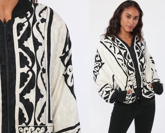 Baroque Jacket 80s Satin Jacket Black White Retro Windbreaker 90s Windbreaker Zip Up Bomber Jacket Vintage 1980s Medium Large