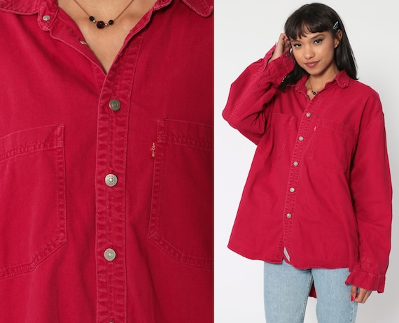 Red Levis Shirt -- Button Down Shirt up 90s Grunge Levi Jean Boyfriend Oversized Cotton 1990s Long Sleeve Oxford Vintage Extra Large xl l