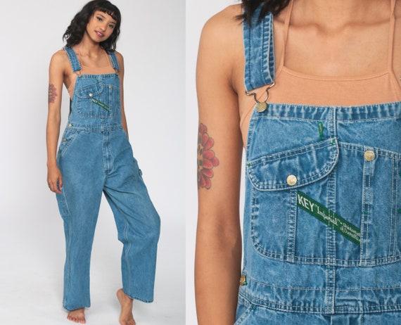 Bib Overalls 90s Denim Pants Jean Dungarees KEY IMPERIAL Wide Leg Baggy Coveralls Long Utility Overalls Blue Carpenter Small Medium
